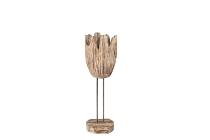 Holzstamm-Vase auf Metallständer