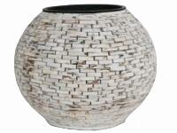 Holzstäbchen-Vase, rund, bauchig