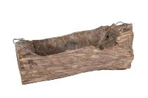 Holzstamm-Pflanzschale, 2 Griffe