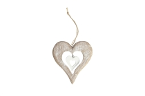 Holz-Herz mit Ausschnitt und Anhänger