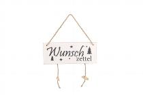 Antikholz-Türschild mit 2 Klammern