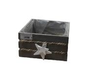 Holz/Jute-Kiste mit Sternen