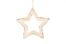 Birken-Stern mit Holzrand, offen