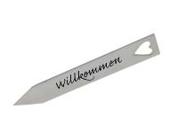"""Kistenholz-""""Willkommen""""-Stecker"""
