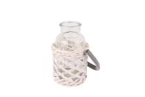 Holzspan/Weide-Flasche mit Henkel