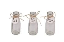 Glas-Flasche mit Anhänger, 3 sortiert