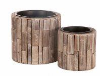 wooden stripe palnter cone, square