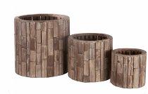 wooden stripe palnter cone, round
