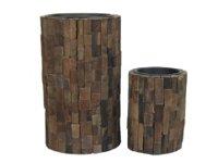 Holzstreifen-Pflanzsäule, rund