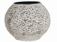 wooden piece vase, round, bellied