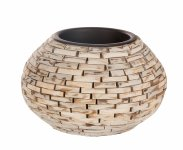 wooden piece vase, round, bellied