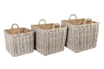 rattan/jute basket with rope handles