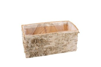 birch bark planter, rectangular