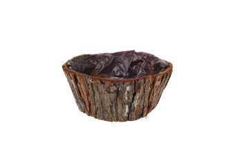 bark planter,round,8x14cm