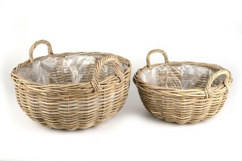 kubu rattan basket w handles, round