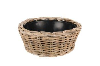 rattan planter bowl with plastic pot