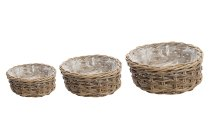 rattan basket w plastic inlay