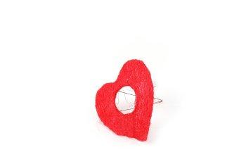 sisal holder,heartshape,red,15cm