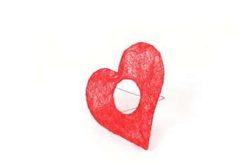sisal holder,heartshape,red,20cm