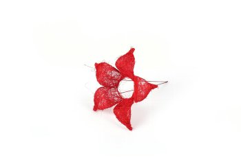 sisal holder,flower,red, 15cm