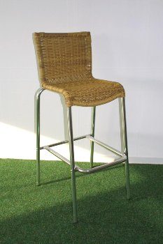 PE ratt.Alum barchair,105x47x56cm