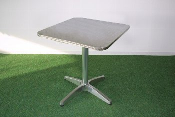 Al.table,squ,stainl.steelt.,70x70cm