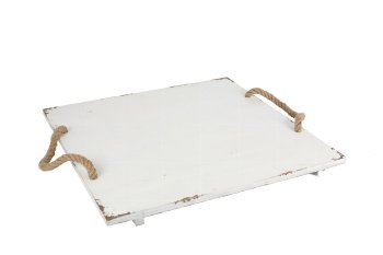 wooden plate with rope handles, square