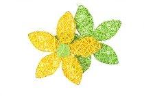 Rattan/Holzwolle-Blume, sortiert
