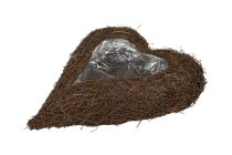 dark grass heart planter, straight, curved