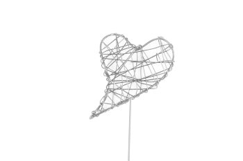 wire heart on stick