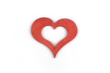 wooden heart, open, 6pcs/bag