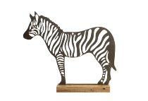 wooden zebra on wooden stand
