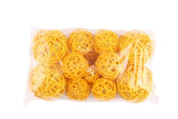 rattan balls,20pcs,yellow,7,5+5+3cm