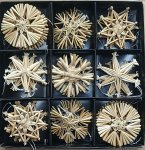 straw stars, 27pcs/box, assort.