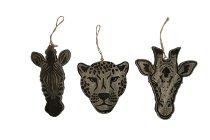 Holz-Gepard/Zebra/Giraffenkopf