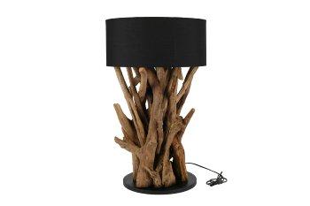 teakwood lamp with black shade
