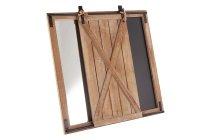 wooden wall w blackboard and mirror